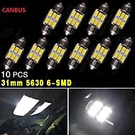 10個入りピュアホワイトCANBUS 31ミリメートル5630 6SMDフェスツーンドームマップ内部は電球のde3175を主導