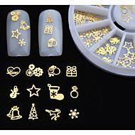 Schattig - Vinger / Teen - 3D Nagelstickers - Metaal - 12pcs/set - stuks mix sizes - ( cm )