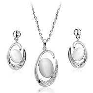 Korean Fashion  Drill  La Luna Opal Alloy Necklace Earrings Set
