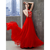 TS Couture® Formal Evening Dress - Ruby A-line High Neck Floor-length Chiffon