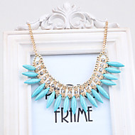 Women's korean-style ivory turquoise crystal necklace fringed sweater chain clavicle
