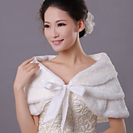 Fur Wraps / Wedding  Wraps Scarves Sleeveless Faux Fur Ivory Wedding / Party/Evening / Casual Shawl Collar Bow / Wave-like