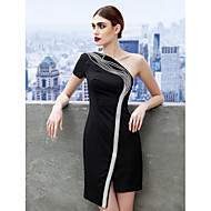 TS Couture Fiesta de Cóctel Vestido - Vestiditos Negros Funda / Columna Sobre un Hombro Corta / Mini Jersey con Apliques