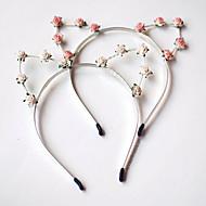 Floral Cat Ears Headband In Ivory White For Coachella, Music Festival, Folk Fest, Bonnaroo