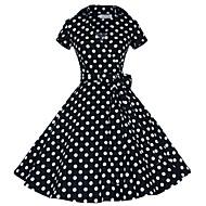 Bayanlar Pamuklu / Polyester Diz-boyu Kısa Kollu Gömlek Yaka Büzgülü Bayanlar Elbise