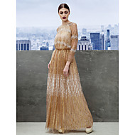 Formal Evening Dress - Champagne A-line Jewel Floor-length Tulle
