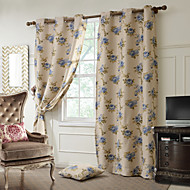 Blackout Printing Flower Curtains Drapes Two Panel