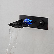 Brushed LED Blue / Green / Red Light Waterfall Wall Mounted Bathroom Basin Faucet - Black/Silver/Gray