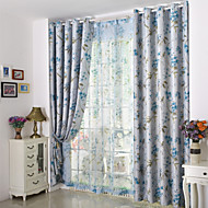Country Curtains® Two Panels Floral Duplex Printing Blackout Curtains Drapes