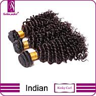 3stk indiske hår bundter væver naturlige sorte kinky krøller hår skud 100% uforarbejdede brazilian menneskehår skud