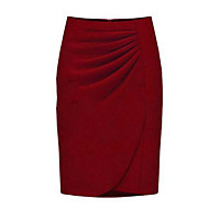 Women's Solid Red / Black / Gray Skirts , Bodycon / Work Knee-length