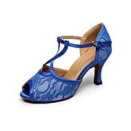 Scarpe da ballo - Non personalizzabile - Donna - Latinoamericano - Tacco a rocchetto - Pelle / Pizzo - Blu