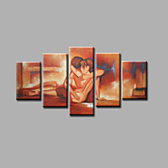 Ready to Hang Stretched Hand-painted Oil Painting on Canvas Wall Art Abstract Contempory Nude Lover Five Panels
