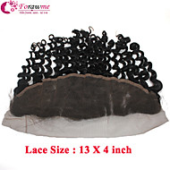 "Unprocessed Brazilian Remy Human Hair Lace Frontal Closures 13X4 Inch Curly Wave Lace Frontal Hair Pieces 10""-20"""