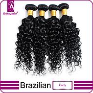 4pcs / lot brasileños paquetes armadura virginal del pelo rizado rizado chorro pelo virginal de la armadura rizado negro extensiones de