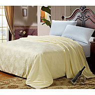 100% Cotton Bedding Jacquard 100% Silk Quilt Winter Comforter Silk Net Weight 4000g Queen King White / Pink / Beige
