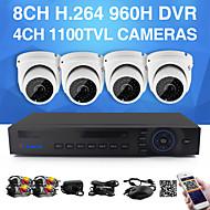 yanse® 1100tvl 2,8 mm cámaras de CCTV de 4 canales seystem kit dvr del color impermeable del IR cámaras de seguridad d / n (960H 8 canales