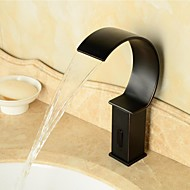 Oil-rubbed Bronze Waterfall Black Bathroom Sink Automatic Faucet with Sensor