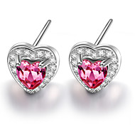 925 Sterling Silver Color CZ Stone Earring Studs