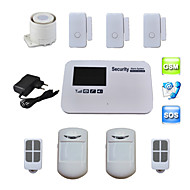 röst SIM-kort GSM larmsystem quad band trådlös fast för hus säkerhet med tre dörrsensor 2 pir detektor