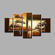 Ručně malované Krajina / Abstraktní krajinkaModerní Pět panelů Plátno Hang-malované olejomalba For Home dekorace