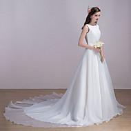 Wedding Dress Chapel Train Bateau Organza / Satin