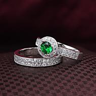 Anéis Casamento / Pesta / Diário / Casual Jóias Zircão / Prata Chapeada Feminino Anéis Grossos 2pçs,6 / 7 / 8 Prateado