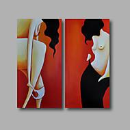 Hånd-malede Mennesker / Nøgen / Abstrakt PortrætModerne To Paneler Canvas Hang-Painted Oliemaleri For Hjem Dekoration