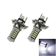 2x 12V-24V הנורה מכונית לבנה 60 2,835 SMD + 3 3535smd H4 הוביל מנורת אור ערפל עם עדשה