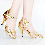 Customizable Women's Dance Shoes Leather Leather Latin Heels Stiletto Heel Indoor Gold