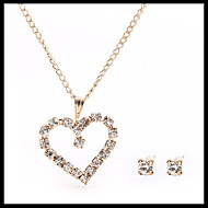 Small Delicate Gold Chain Crystal Necklace Heart Pendant with Stud Earrings Women's Jewelry set