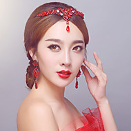 Red Rhinestone Classical Wedding / Party /Birthday/Engagement Jewelry Sets with Headpieces and Earings