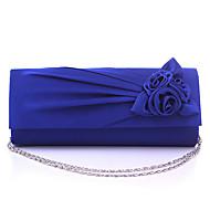 Women Satin Flap Clutch / Evening Bag - White / Pink / Blue / Green / Black