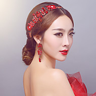 Red Elegant Rhinestones/Pearls Wedding / Party Headpiece with Earings Drop