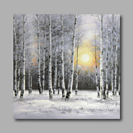 Ręcznie malowane Krajobraz / Kwiatowy/Roślinny / Pejzaż abstrakcyjnyNowoczesny Jeden panel Płótno Hang-Malowane obraz olejny For