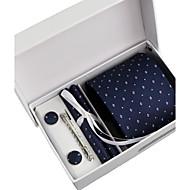 עניבה / כיס מרובע / עניבת קליפס / חפתים - דוגמא ( כחול נייבי , פוליאסטר )