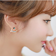 Women's Fashion Sweet Colorful Crystal Moon and Stars Pattern Stud Earrings