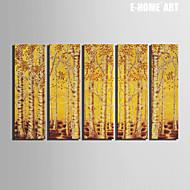 Krajina / Botanický motiv Na plátně Pět panelů Připraveno k Pověste , Vertikální