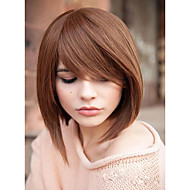 Lovely Medium Straight Capless Human Virgin Remy Hand Tied-Top Hair Wigs