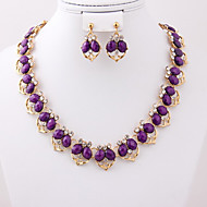 May Polly Korean fashion heart-shaped Necklace Earrings banquet set resin