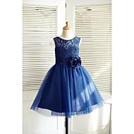 A-line Knee-length Flower Girl Dress - Lace / Satin / Tulle Sleeveless