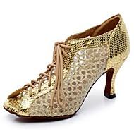 Scarpe da ballo - Non personalizzabile - Donna - Latinoamericano - Tacco a rocchetto - Satin / Pelle - Nero / Argento / Oro