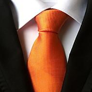 Men Wedding Cocktail Necktie At Work Orange Tie