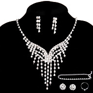 Wedding Party Jewelry Sets Crystal Pendant Necklace  Ring Bracelet 2 Pairs of Drop Earrings Stud for Women's Accessories