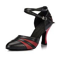 Customizable Women's Dance Shoes Leather Leather Latin / Ballroom Heels Chunky Heel Indoor Red / Gold