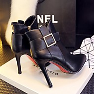 Women's Shoes Leather Stiletto Heel Fashion Boots / Bootie / Pointed Toe / Dress / Casual Black