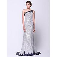 TS couture® 공식적인 이브닝 드레스 트럼펫 / 장식 조각 한 어깨 청소 / 브러쉬 기차 반짝이를 인어