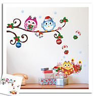 New Years Merry Christmas Owl Tree Wall Stickers Wall Decor , PVC Removable