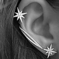 Punhos da orelha Brinco Moda Personalizado Europeu Strass Liga Estrela Prata Jóias Para Casamento Festa Diário Casual 2pçs