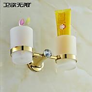 weiyuwuxian® nykyaikainen kultainen kristalli messinki kaksinkertainen kuppi hammasharja haltija \ n